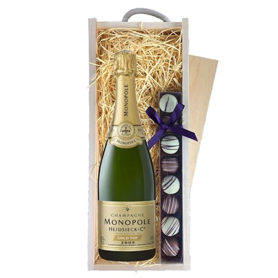 Heidsieck & Co. Monopole Vintage Champagne 75cl & Champagne Truffles, Wooden Box
