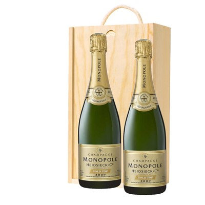 Heidsieck & Co. Monopole Vintage Champagne 75cl Twin Pine Wooden Gift Box (2x75cl)