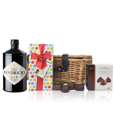 Hendricks Gin 70cl and Chocolates Hamper A delightful gift of Hendricks Gin 70cl along with a box of Mini Duc d'O Belgin Chocolates 50g and Belgid'Or Fine Belgin Choclates 175g all packed in a wicker hamper with leather straps lined with wood wool. All gifts come with a gift card with message of your choice. Price includes free UK Mainland Delivery, and Exports and international delivery available.