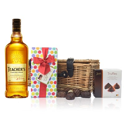 Teachers Highland Cream Whisky and Chocolates Hamper A delightful gift of Teachers Highland Cream Blended Scotch Whisky along with a box of Mini Duc d'O Belgin Chocolates 50g and Belgid'Or Fine Belgin Choclates 175g all packed in a wicker hamper with leather straps lined with wood wool. All gifts come with a gift card with message of your choice.  . Price includes free UK Mainland Delivery, and Exports and international delivery available.