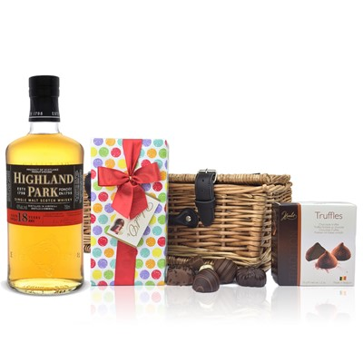 Highland Park 18 Year Old and Chocolates Hamper A delightful gift of Highland Park 18 Year Old Single Malt Maritime Whisky along with a box of Mini Duc d'O Belgin Chocolates 50g and Belgid'Or Fine Belgin Choclates 175g all packed in a wicker hamper with leather straps lined with wood wool. All gifts come with a gift card with message of your choice.  . Price includes free UK Mainland Delivery, and Exports and international delivery available.