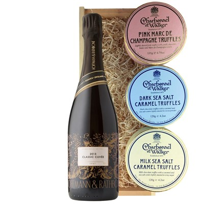 Hoffmann And Rathbone Classic Cuvee And Charbonnel Trio of Truffles Gift Box
