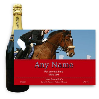 Show Jumping Label-Buy a bottle of Champagne Jules Feraud Brut Cuvee NV 75cl personalised as a gift that is a perfect for celebrating with style! Create your very own Personalised Bottle of Champagne with your own message on the bottle which is printed in full colour. Jules Feraud is a rich Champagne with savoury aromas. This deep golden Champagne is powerful but elegant; strong bodied and dry yet still balanced. A fresh fun and lively champange for any occasion..and deliciously easy to drink! Please Keep the Message to Maximum of 25 words Gift Message will be used as message on the label . Price includes free UK Mainland Delivery, and Exports and international delivery available.