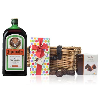 Jagermeister and Chocolates Hamper A delightful gift of Jagermeister  Liqueur along with a box of Mini Duc d'O Belgin Chocolates 50g and Belgid'Or Fine Belgin Choclates 175g all packed in a wicker hamper with leather straps lined with wood wool. All gifts come with a gift card with message of your choice.  Price includes free UK Mainland Delivery, and Exports and international delivery available.