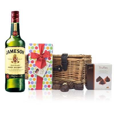 Jameson Blended Irish Whiskey and Chocolates Hamper A delightful gift of Jameson Blended Irish Whisky along with a box of Mini Duc d'O Belgin Chocolates 50g and Belgid'Or Fine Belgin Choclates 175g all packed in a wicker hamper with leather straps lined with wood wool. All gifts come with a gift card with message of your choice.  . Price includes free UK Mainland Delivery, and Exports and international delivery available.