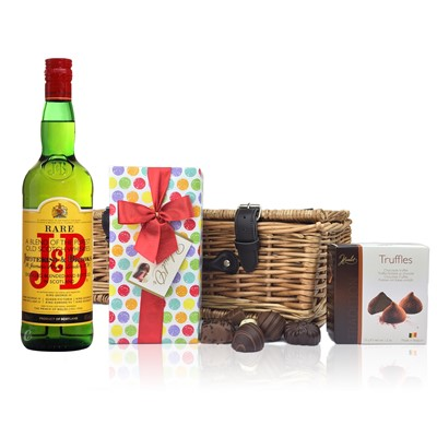 J & B Rare Blended Whisky and Chocolates Hamper A delightful gift of J & B Rare Blended Whisky along with a box of Mini Duc d'O Belgin Chocolates 50g and Belgid'Or Fine Belgin Choclates 175g all packed in a wicker hamper with leather straps lined with wood wool. All gifts come with a gift card with message of your choice.  . Price includes free UK Mainland Delivery, and Exports and international delivery available.