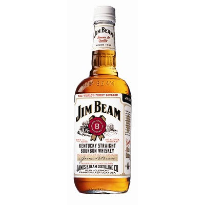 Jim Beam White Label Bourbon Whisky   Made to the same formula since 1795 this giant of the category is aged for four years in oak barrels to create a smooth mellow taste with hints of spice.   Jim Beam White Label is Aged twice as long as needed. Great for mixing with cocktails and a great introduction to Bourbon Whiskey. The Bourbon to keep on hand. On any and all occasions.  . Price includes free UK Mainland Delivery, and Exports and international delivery available.