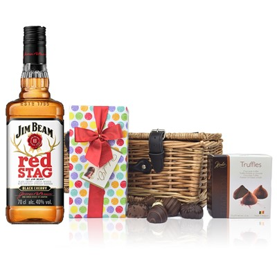 Jim Beam Red Stag Bourbon and Chocolates Hamper A delightful gift of Jim Beam Red Stag Bourbon along with a box of Mini Duc d'O Belgin Chocolates 50g and Belgid'Or Fine Belgin Choclates 175g all packed in a wicker hamper with leather straps lined with wood wool. All gifts come with a gift card with message of your choice.  . Price includes free UK Mainland Delivery, and Exports and international delivery available.