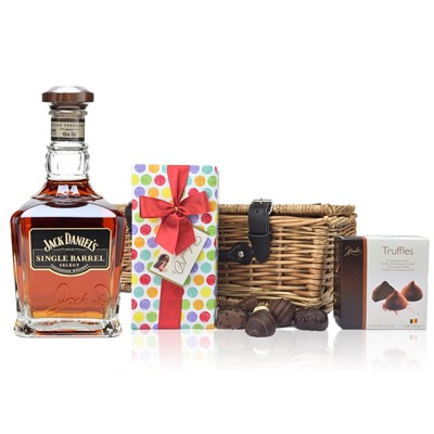 Jack Daniels Single Barrel and Chocolates Hamper A delightful gift of Jack Daniels Single Barrel along with a box of Mini Duc d'O Belgin Chocolates 50g and Belgid'Or Fine Belgin Choclates 175g all packed in a wicker hamper with leather straps lined with wood wool. All gifts come with a gift card with message of your choice.  . Price includes free UK Mainland Delivery, and Exports and international delivery available.