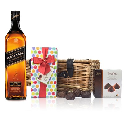 Johnnie Walker Black Label Whisky and Chocolates Hamper A delightful gift of Johnnie Walker Black Label Old Scotch Whisky along with a box of Mini Duc d'O Belgin Chocolates 50g and Belgid'Or Fine Belgin Choclates 175g all packed in a wicker hamper with leather straps lined with wood wool. All gifts come with a gift card with message of your choice.  . Price includes free UK Mainland Delivery, and Exports and international delivery available.