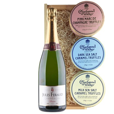 Jules Feraud Brut Champagne 75cl And Charbonnel Trio of Truffles Gift Box