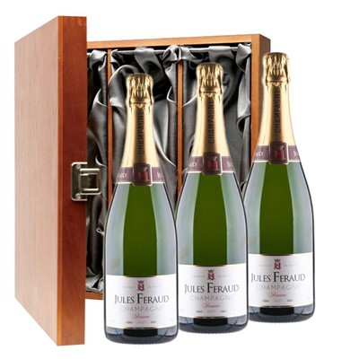 Jules Feraud Brut Champagne 75cl Three Bottle Luxury Gift Box