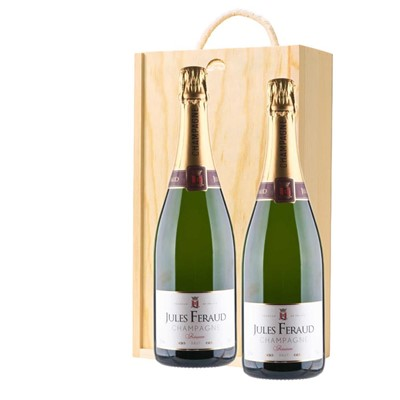 Jules Feraud Brut Champagne 75cl Twin Pine Wooden Gift Box (2x75cl)