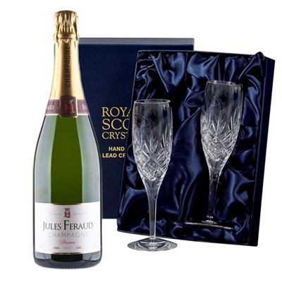 Jules Feraud Brut Champagne 75cl with 2 Royal Scot Edinburgh Flutes
