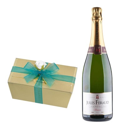 Jules Feraud Brut Champagne 75cl With Selection Of Milk, White And Dark Belgian Chocolates 460g