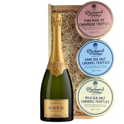 Krug Grande Cuvee Brut Champagne 75cl And Charbonnel Trio of Truffles Gift Box
