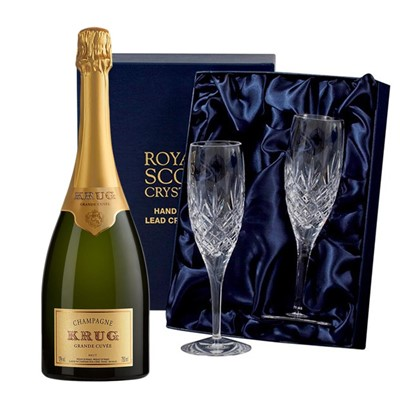Krug Grande Cuvee Brut Champagne 75cl with 2 Royal Scot Edinburgh Flutes