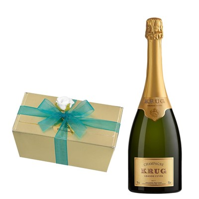 Krug Grande Cuvee Brut Champagne 75cl With Selection Of Milk, White And Dark Belgian Chocolates 460g