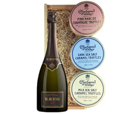 Krug Prestige 2004 Vintage Champagne 75cl And Charbonnel Trio of Truffles Gift Box