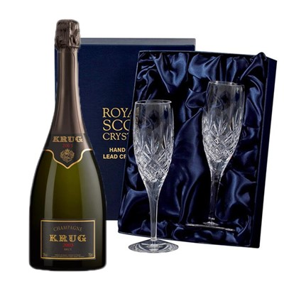 Krug Prestige 2004 Vintage Champagne 75cl with 2 Royal Scot Edinburgh Flutes