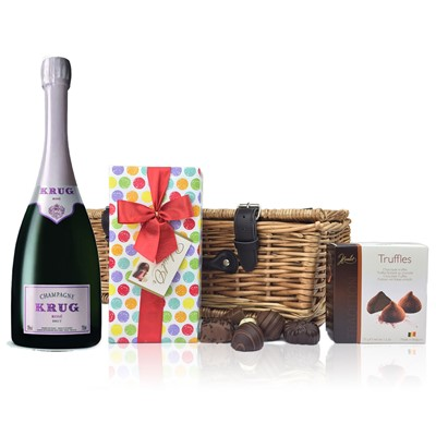 A delightful gift of Krug Rose along with a box of Mini Duc d'O Belgin Chocolates (50g) and Belgid'Or Fine Belgin Choclates (190g) all packed in a wicker hamper with leather straps, lined with wood wool.  . Price includes free UK Mainland Delivery, and Exports and international delivery available.