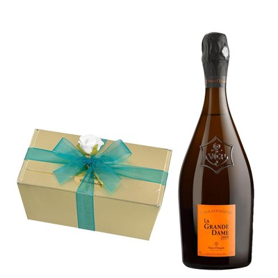 La Grande Dame 2008 Champagne 75cl With Selection Of Milk, White And Dark Belgian Chocolates 460g