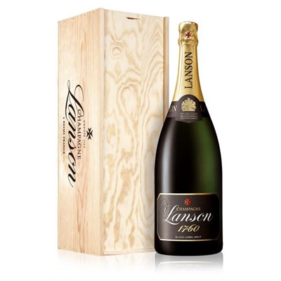 Buy a Magnum of Lanson Black Label NV Champagne 1.5 litres . Presented in a wooden gift box with sliding lid the box is lined with wood wool. A firm favourite. . Price includes free UK Mainland Delivery, and Exports and international delivery available.