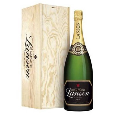 A Methuselah of Lanson Black Label Brut, NV, Champagne inside a Lanson Wood Box, To the eye the brilliant, limpid colour recalls the characteristic straw tones of the Pinot Noir, with glints of amber. It is lively in the flute, with a fine stream of persistent bubbles. On the nose it gives an impression of vitality and springtime scents, together with hints of toast and from a variety of flowers. Price includes free UK Mainland Delivery, and Exports and international delivery available.