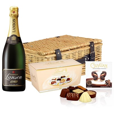 Lanson Black Label Brut Champagne 75cl And Chocolates Hamper