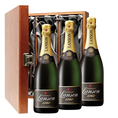 Lanson Black Label Brut Champagne 75cl Three Bottle Luxury Gift Box