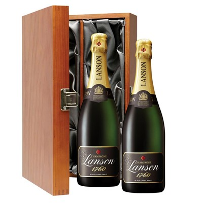 Lanson Black Label Brut Champagne 75cl Twin Luxury Gift Boxed (2x75cl)
