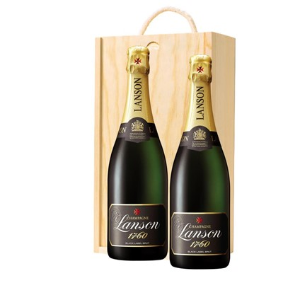 Lanson Black Label Brut Champagne 75cl Twin Pine Wooden Gift Box (2x75cl)