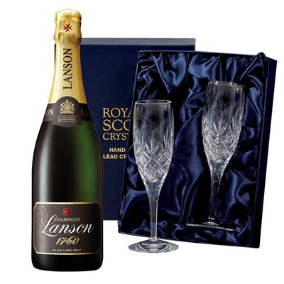 Lanson Black Label Brut Champagne 75cl with 2 Royal Scot Edinburgh Flutes