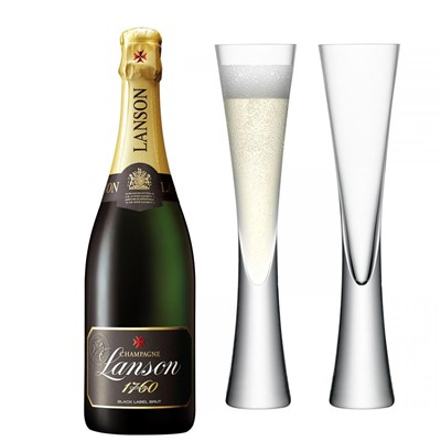Lanson Black Label Brut Champagne 75cl with LSA Flutes