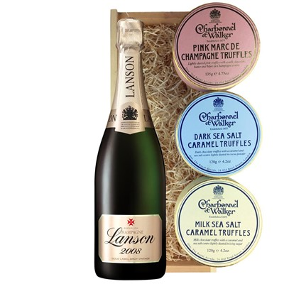 Lanson Gold Label 2008 Vintage Champagne 75cl And Charbonnel Trio of Truffles Gift Box