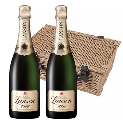 Lanson Gold Label 2008 Vintage Champagne 75cl Twin Hamper (2x75cl)