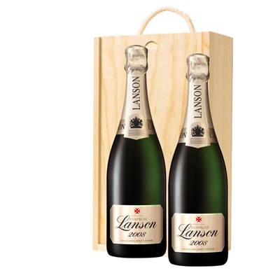 Lanson Gold Label 2008 Vintage Champagne 75cl Twin Pine Wooden Gift Box (2x75cl)