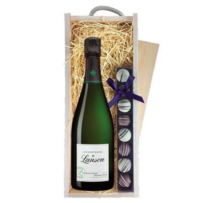 Lanson Green Label Organic Champagne 75cl & Champagne Truffles, Wooden Box