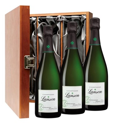 Lanson Green Label Organic Champagne 75cl Three Bottle Luxury Gift Box