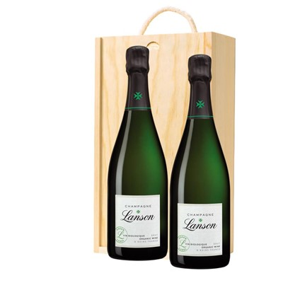 Lanson Green Label Organic Champagne 75cl Twin Pine Wooden Gift Box (2x75cl)