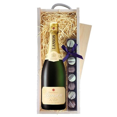 Lanson Ivory Label Demi-Sec Champagne 75cl & Champagne Truffles, Wooden Box