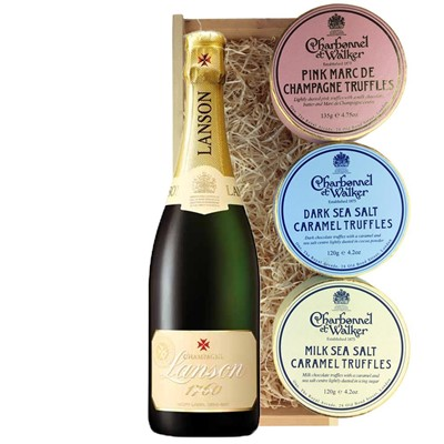Lanson Ivory Label Demi-Sec Champagne 75cl And Charbonnel Trio of Truffles Gift Box