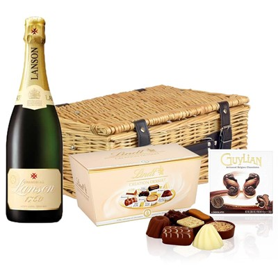 Lanson Ivory Label Demi-Sec Champagne 75cl And Chocolates Hamper