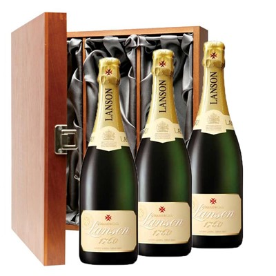 Lanson Ivory Label Demi-Sec Champagne 75cl Three Bottle Luxury Gift Box