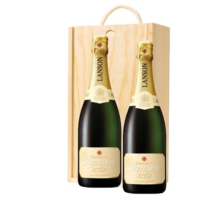 Lanson Ivory Label Demi-Sec Champagne 75cl Twin Pine Wooden Gift Box (2x75cl)