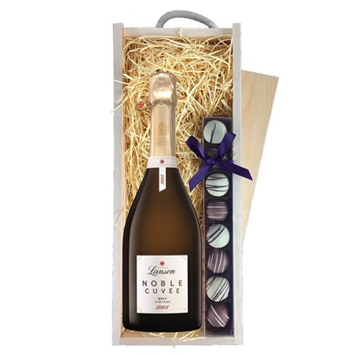 Lanson Noble Cuvee Brut 2002 Vintage Champagne 75cl & Champagne Truffles, Wooden Box