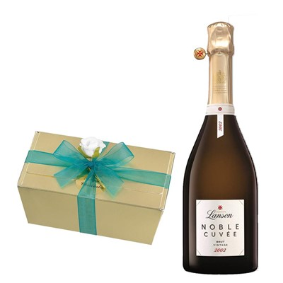 Lanson Noble Cuvee Brut 2002 Vintage Champagne 75cl With Selection Of Milk, White And Dark Belgian Chocolates 460g