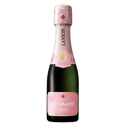 Mini Lanson Rose Champagne 20cl  Having been making this cuvee for over fifty years rose Champagnes are rather a speciality of the Lanson house. A blend of Pinot Noir and Pinot Meunier with one third Chardonnay grapes produces a delicate pale rose colour and delicious long lasting raspberry and strawberry flavours. A beautiful pure colour with pale salmon touches. On the nose aromas of roses and fruit predominate with discreet notes of red fruit. The initial impression is tender; well rounded and fresh this wine has harmonious balance and good length on the finish. . Price includes free UK Mainland Delivery, and Exports and international delivery available.