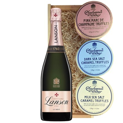 Lanson Rose Label Champagne 75cl And Charbonnel Trio of Truffles Gift Box