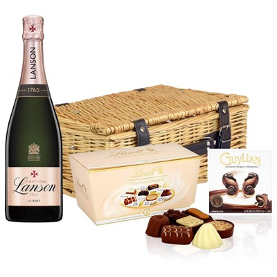 Lanson Rose Label Champagne 75cl And Chocolates Hamper